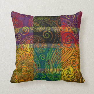 bloque del color de Paisley Cojín Decorativo