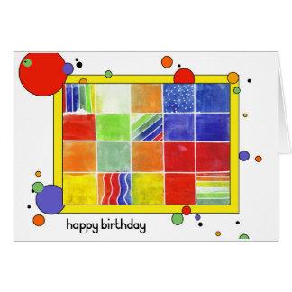 Bloque del color del feliz cumpleaños tarjeta de felicitación