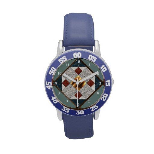 Bloque del edredón del álbum en azules y moho relojes de pulsera