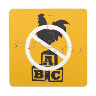 Bloque del gallo posavasos de puzzle