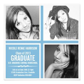 Bloque del graduado de la foto del color 3 del azu invitacion personal
