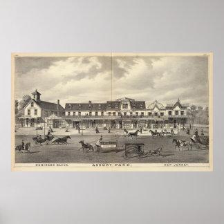 Bloque del negocio, parque de Asbury, New Jersey Posters