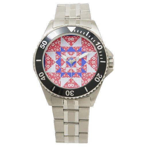 Bloque floral y de los puntos blanco y azul rojo reloj