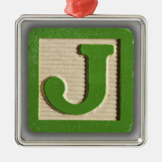 Bloque J del juguete del alfabeto Adorno Navideño Cuadrado De Metal