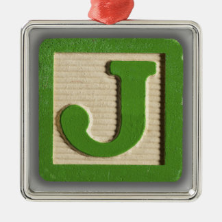 Bloque J del juguete del alfabeto Adorno Cuadrado Plateado