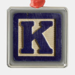 Bloque K del juguete del alfabeto Ornamento Para Arbol De Navidad