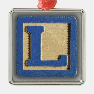 Bloque L del juguete del alfabeto Adorno Navideño Cuadrado De Metal