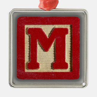 Bloque M del juguete del alfabeto Adorno Cuadrado Plateado