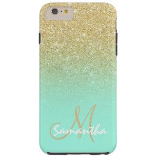 Bloque moderno de la verde menta del ombre del oro funda resistente iPhone 6 plus