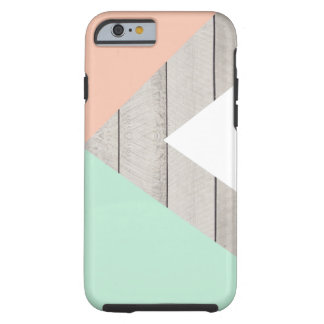 Bloque moderno de madera gris del color del trullo funda de iPhone 6 tough