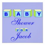 Bloque-muchacho del bebé invitación 13,3 cm x 13,3cm