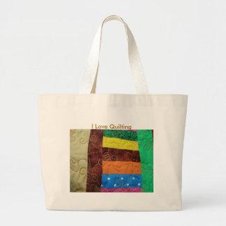 Bloque multicolor del edredón, amo el acolchar bolsa tela grande