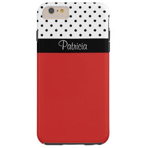 Bloque negro del monograma y blanco rojo del color funda de iPhone 6 plus tough