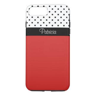 Bloque negro del monograma y blanco rojo del color funda iPhone 7 plus