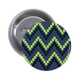 Bloque occidental azul Chevron Pin Redondo De 2 Pulgadas