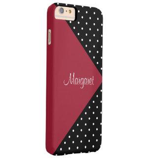 Bloque rojo del monograma y negro picante del funda de iPhone 6 plus barely there