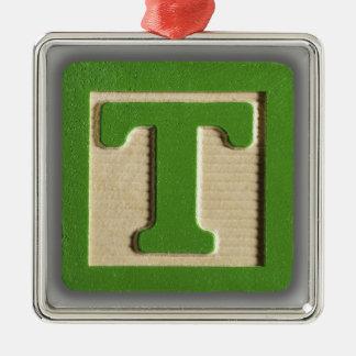 Bloque T del juguete del alfabeto Adorno Cuadrado Plateado