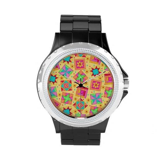 Bloques amarillos soleados del arte del edredón de relojes de pulsera