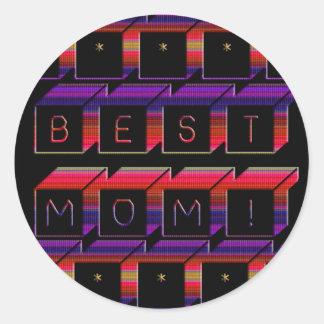 Bloques coloreados la mejor mamá y fondo negro pegatina redonda