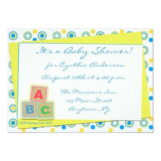 """Bloques de ABC de la fiesta de bienvenida al bebé Invitación 5"""" X 7"""""""