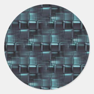 Bloques de cristal azules etiqueta redonda