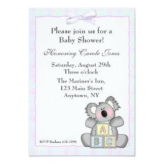 "Bloques de la koala invitación 5"" x 7"""