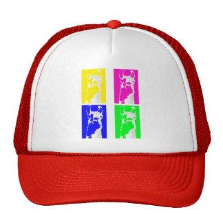 Bloques de la llama en colores brillantes en todo gorras