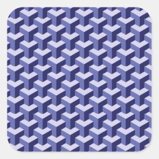 bloques de la púrpura 3D Calcomanías Cuadradass