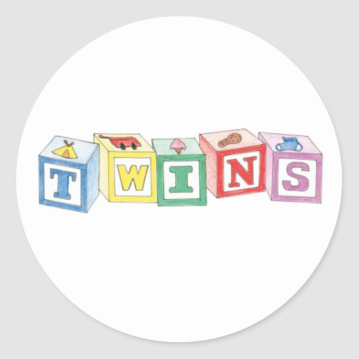 Bloques de los gemelos gráficos etiqueta redonda