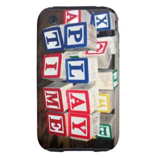 Bloques de madera del juguete de Childs iPhone 3 Tough Fundas