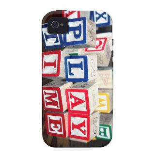 Bloques de madera del juguete de Childs Case-Mate iPhone 4 Carcasa