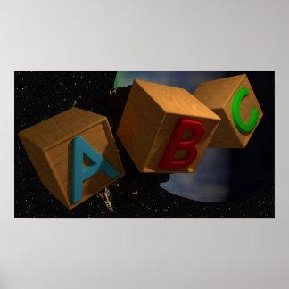 bloques del alfabeto 3D en espacio Póster