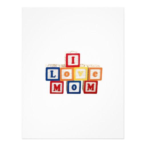 """Bloques del alfabeto apilados para decir, """"amo a l plantilla de membrete"""