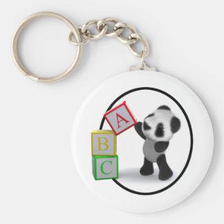 bloques del alfabeto de la panda del bebé 3d llavero redondo tipo pin