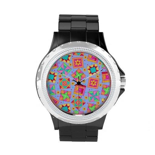 Bloques del arte del edredón de remiendo de la lav reloj