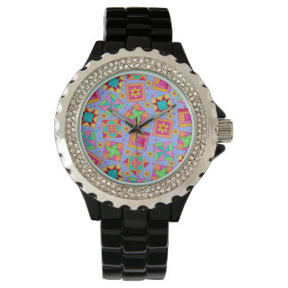 Bloques del arte del edredón de remiendo de la relojes de pulsera