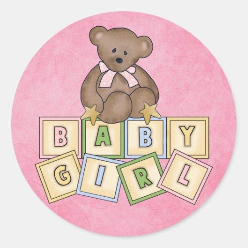 Bloques del bebé del oso del chica pegatina redonda