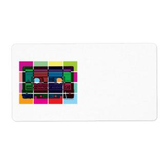 bloques del color del casete de los años 80 etiqueta de envío