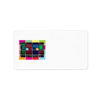 bloques del color del casete de los años 80 etiqueta de dirección