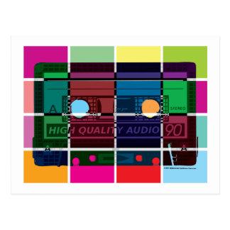bloques del color del casete de los años 80 postal