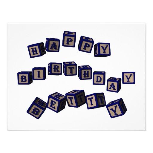 Bloques del juguete de Betty del feliz cumpleaños  Invitación