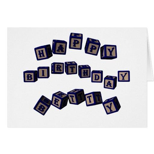 Bloques del juguete de Betty del feliz cumpleaños  Felicitación