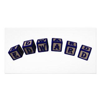 Bloques del juguete de Edward en azul Tarjeta Fotografica