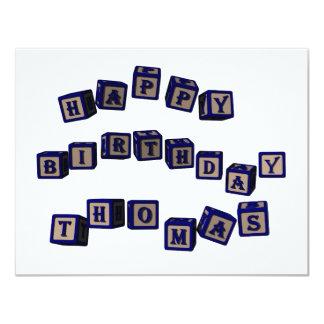 Bloques del juguete de Thomas del feliz cumpleaños Invitación