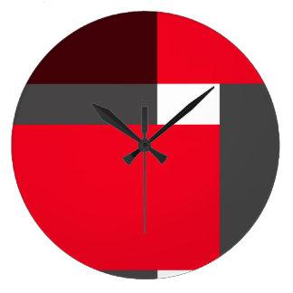 Bloques del rojo, marrón y del gris reloj redondo grande