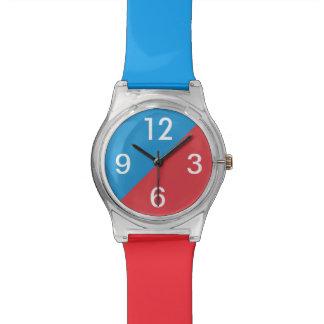 Bloques frescos del color de la MOD 2 rojos y azul Reloj De Mano