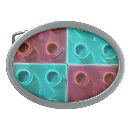 Bloques huecos azules y púrpuras lindos hebilla cinturon oval