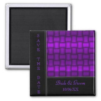 Bloques iridiscentes (púrpuras) (ahorre la fecha) iman de nevera