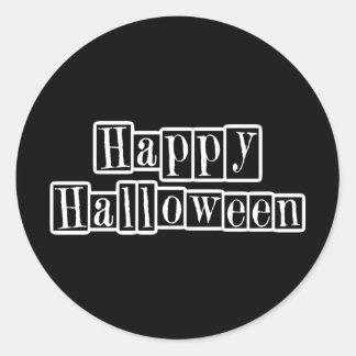Bloques retros del feliz Halloween Pegatina Redonda