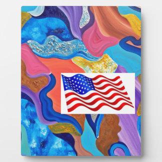 Blossom American Flag Plaque